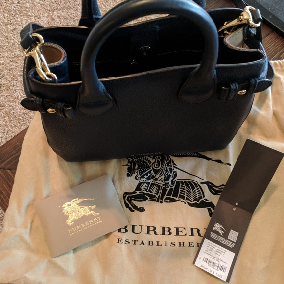 Burberry Handbags - Burberry House Check Leather Small Banner Tote 9a58b814ec2c4